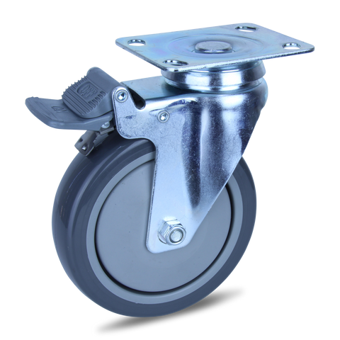 MZPUQ125STB <span>120 Kg Swivel Plate Total Brake 125mm Polyurethane</span>