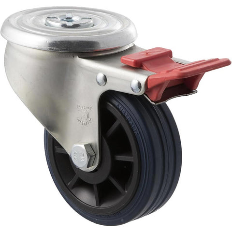 JBR100/JZHTB <span>150 Kg Bolt-Hole Total Brake 100mm Blue Rubber</span>