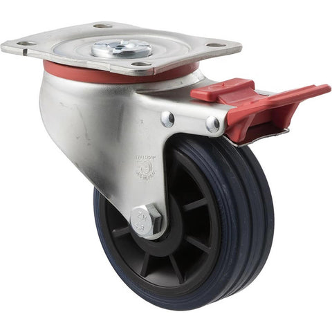 JBR100/JZPTB <span>150 Kg Swivel Plate Total Brake 100mm Blue Rubber</span>