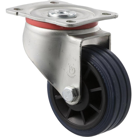 JBR100/JZP <span>150 Kg Swivel Plate 100mm Blue Rubber</span>