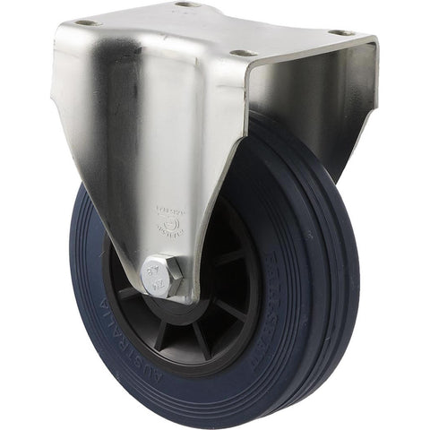 JBR125/JZF 180 Kg Zinc Castor <span>Fixed Blue Rubber 125mm x 35mm</span>