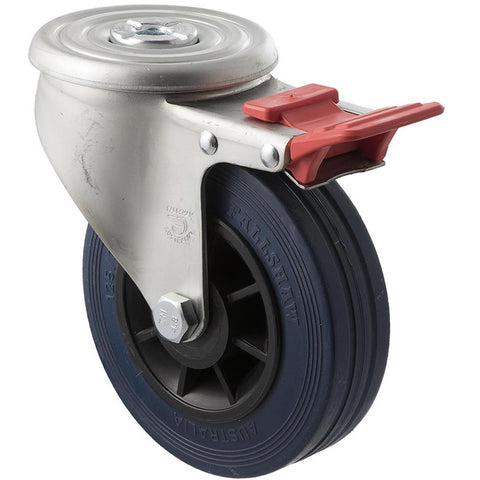 JBR125/JZHTB 180 Kg Zinc Castor <span>Bolt-Hole Total Brake Blue Rubber 125mm x 35mm</span>