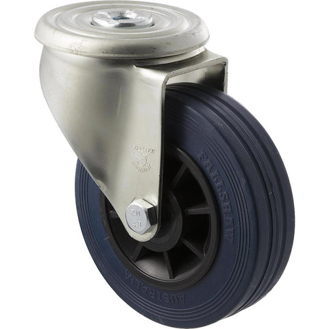 JBR125/JZH 180 Kg Zinc Castor <span>Bolt-Hole Blue Rubber 125mm x 35mm</span>