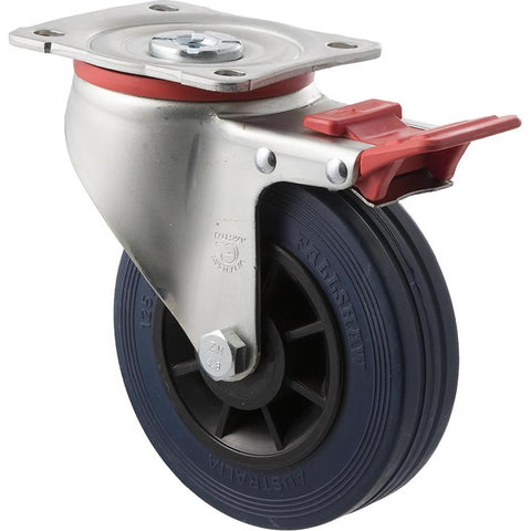 JBR125/JZPTB 180 Kg Zinc Castor <span>Swivel Total Brake Blue Rubber 125mm x 35mm</span>