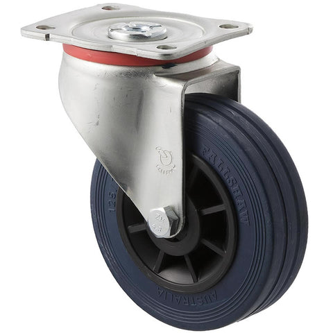 JBR125/JZP 180 Kg Zinc Castor <span>Swivel Blue Rubber 125mm x 35mm</span>