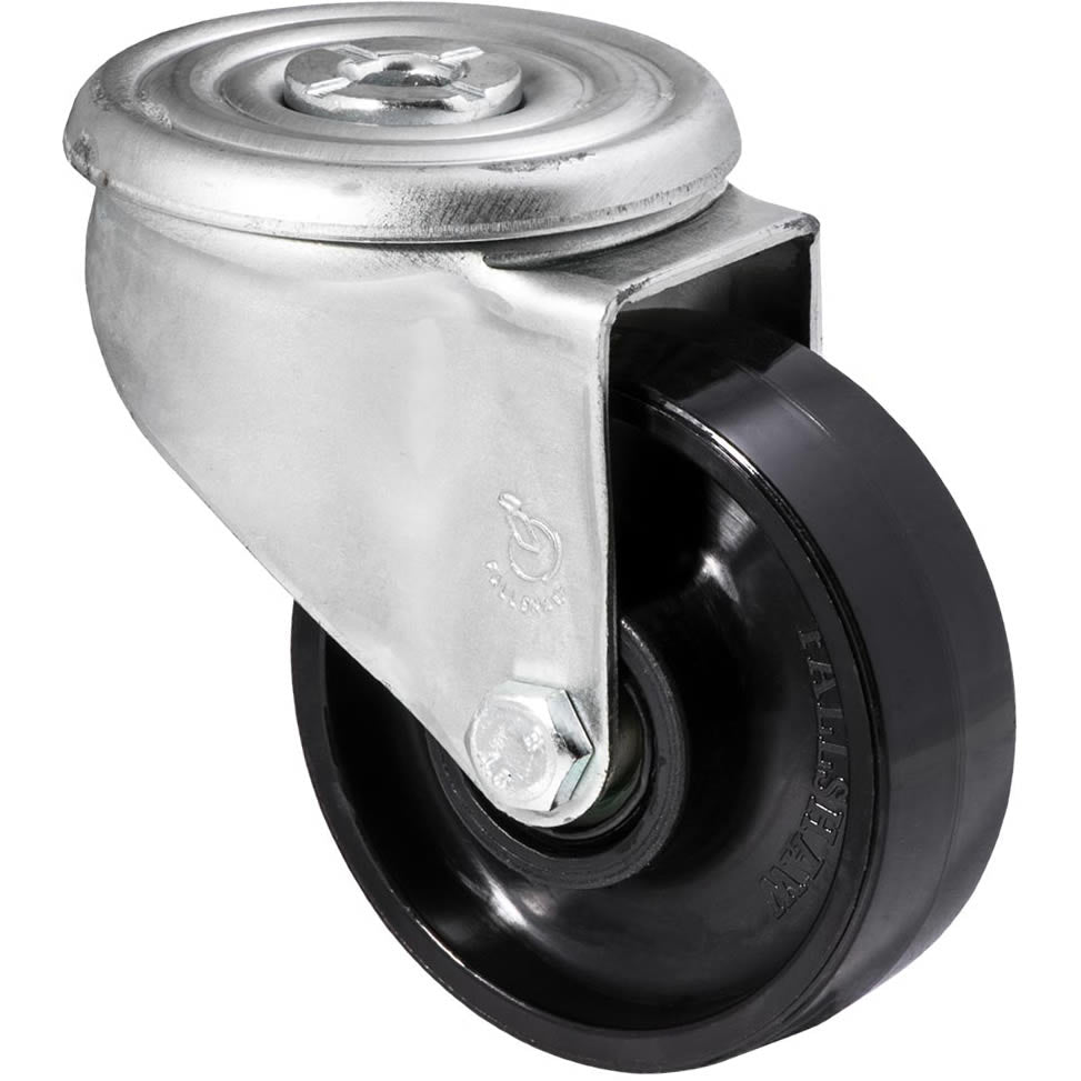 JNR100/JZH 300 Kg Zinc Castor <span>Bolt- Hole Black Nylon 100mm x 35mm</span>