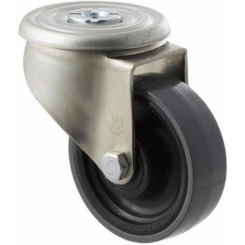 JUR100/JZH 300 Kg Zinc Castor <span>Bolt-Hole P/U on Nylon 100mm x 32mm</span>