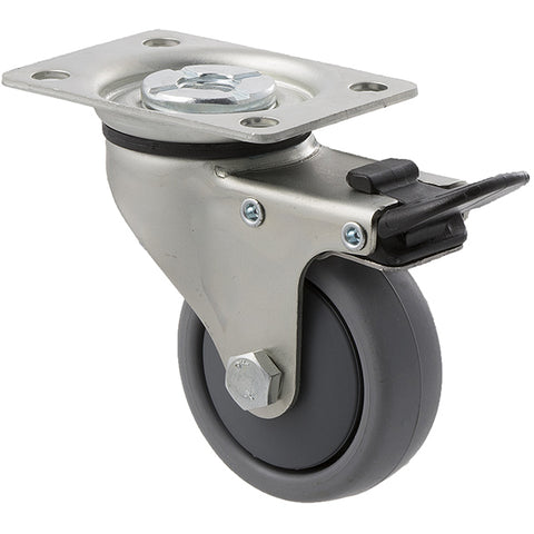 KJA65G/KZPTB 50 Kg Zinc Castor <span>Swivel Total Brake Grey TPE 65mm x 23mm</span>