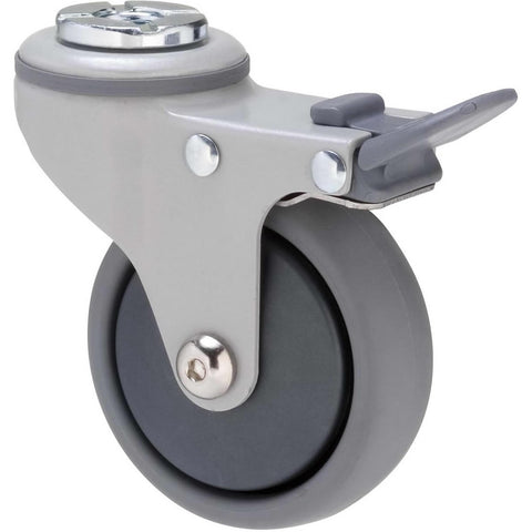 KJQ75GGH - KJQ75G/KPHTBGH <span>50 Kg Bolt-Hole Total Brake 75mm Grey TPE w/ Graphite Thread Guard</span>