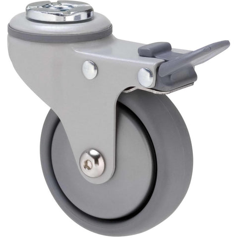 KJQ75GSL - KJQ75G/KPHTBSL <span>50 Kg Bolt-Hole Total Brake 75mm Grey TPE w/ Silver Thread Guard</span>