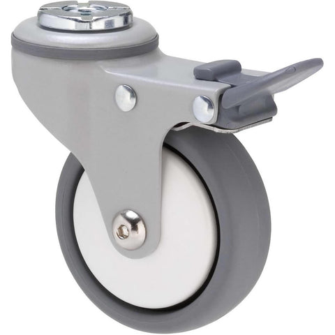 KJQ75GWT - KJQ75G/KPHTBWT <span>50 Kg Bolt-Hole Total Brake 75mm Grey TPE w/ White Thread Guard</span>