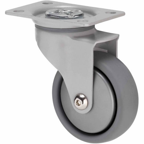 KJQ75GSL - KJQ75G/KPPSL <span>50 Kg Swivel Plate 75mm Grey TPE w/ Silver Thread Guard</span>