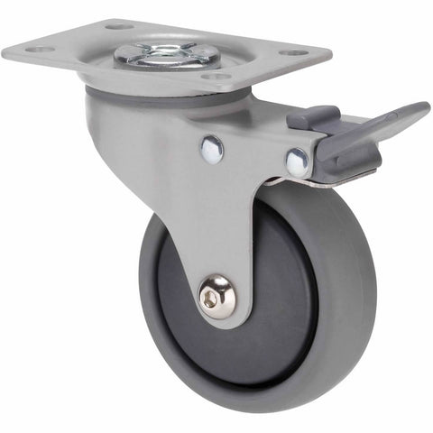 KJQ75GGH - KJQ75G/KPPTBGH <span>50 Kg Swivel Plate Total Brake 75mm Grey TPE w/ Graphite Thread Guard</span>