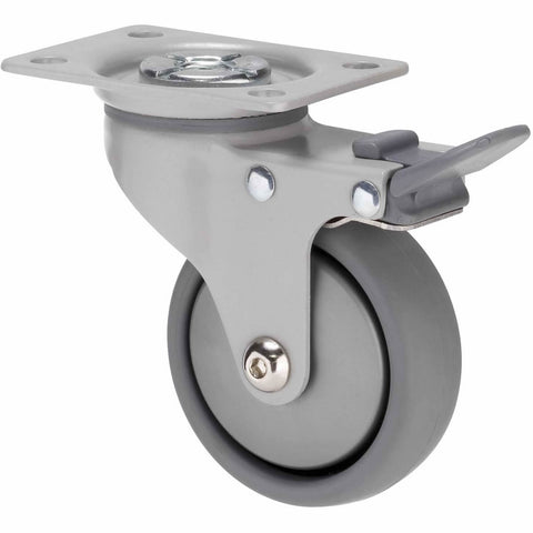KJQ75GSL - KJQ75G/KPPTBSL <span>50 Kg Swivel Plate Total Brake 75mm Grey TPE w/ Silver Thread Guard</span>