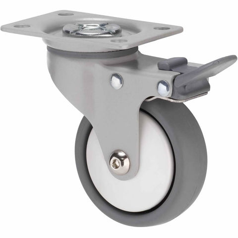 KJQ75GWT - KJQ75G/KPPTBWT <span>50 Kg Swivel Plate Total Brake 75mm Grey TPE w/ White Thread Guard</span>