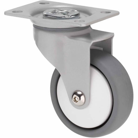 KJQ75GWT - KJQ75G/KPPWT <span>50 Kg Swivel Plate 75mm Grey TPE w/ White Thread Guard</span>