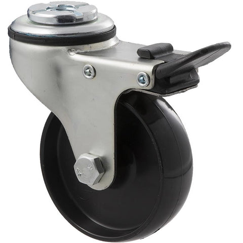 KNN75/KZHTB 65 Kg Zinc Castor <span>Bolt-Hole Total Brake Black Nylon 75mm x 23mm</span>