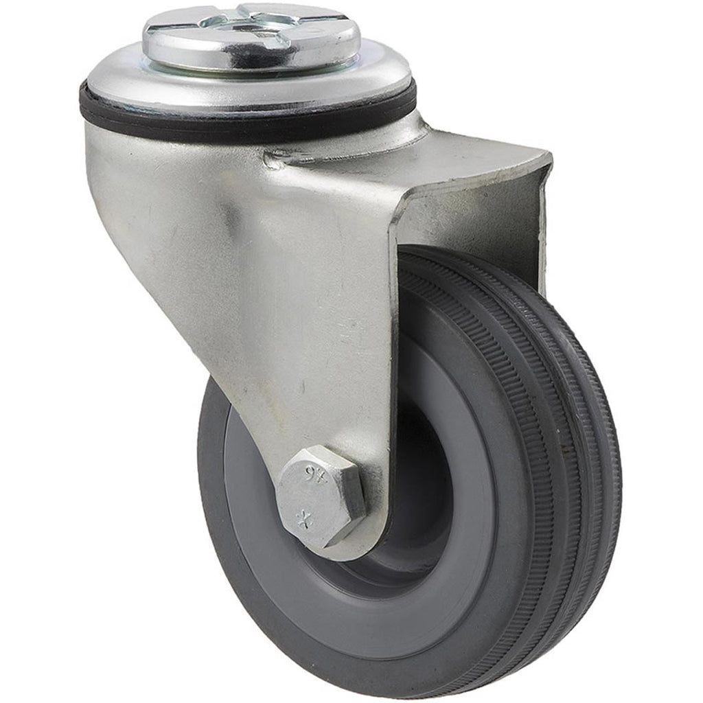 KSA65/KZH 50 Kg Zinc Castor <span>Bolt-Hole Grey Rubber 65mm x 23mm</span>