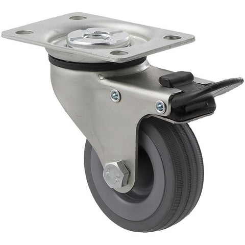 KSA65/KZPTB 50 Kg Zinc Castor <span>Swivel Total Brake Grey Rubber 65mm x 23mm</span>