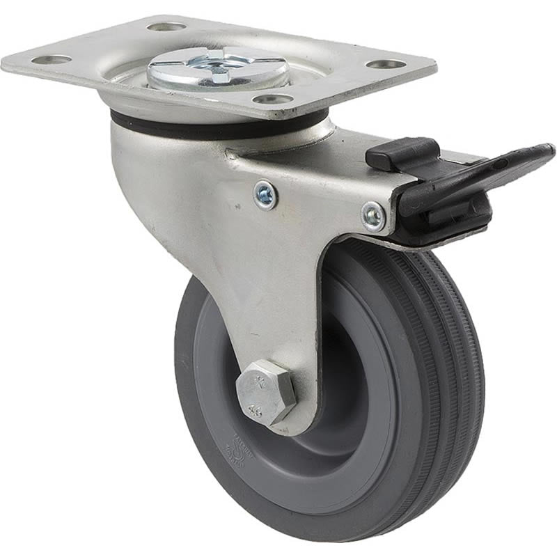 KSA75/KZPTB 50 Kg Zinc Castor <span>Swivel Total Brake Grey Rubber 75mm x 23mm</span>