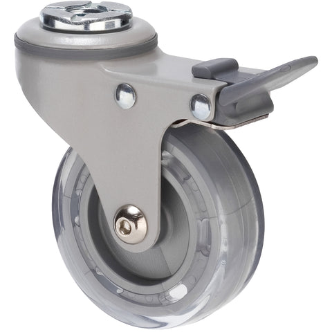 KVP75/KPHTBGY <span>45 Kg Bolt-Hole Total Brake 75mm Clear PVC</span>
