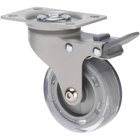 KVP75/KPPTBGY <span>45 Kg Swivel Plate Total Brake 75mm Clear PVC</span>