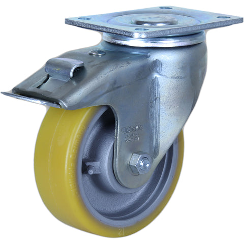 GTH150 - LH-GTH150K-F1 <span>750 Kg Swivel Plate Total Brake 150mm Polyurethane</span>