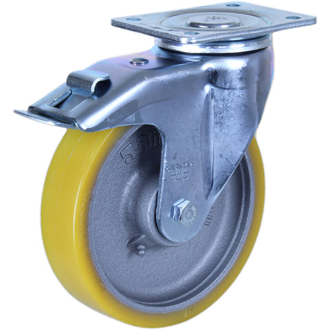GTH200 - LH-GTH200K-F1 <span>900 Kg Swivel Plate Total Brake 200mm Polyurethane</span>