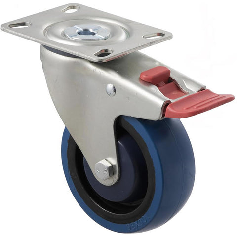 MBQ100G/MZPTB 140 Kg Zinc Castor <span>Swivel Total Brake Blue Rubber 100mm x 30mm</span>