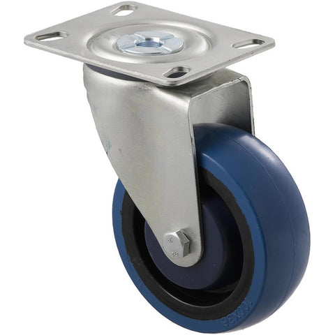 MBQ100G/MZP 140 Kg Zinc Castor <span>Swivel Blue Rubber 100mm x 30mm</span>