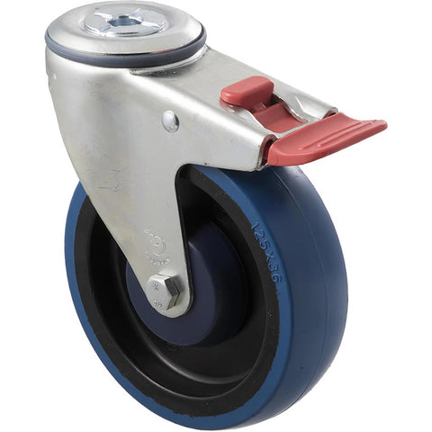 MBQ125G/MZHTB 150 Kg Zinc Castor <span>Bolt-Hole Total Brake Blue Rubber 125mm x 30mm</span>