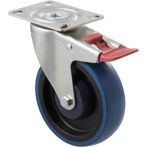 MBQ125G/MZPTB 150 Kg Zinc Castor <span>Swivel Total Brake Blue Rubber 125mm x 30mm</span>