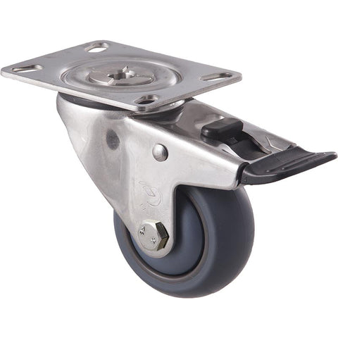 MJA75G/MSPTB <span>85 Kg Stainless Steel Swivel Plate Total Brake 75mm Grey TPE</span>