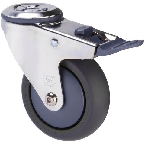 MJQ100GBN - MJQ100G/MCHTBBN <span>85 Kg Chrome Plated Bolt-Hole Total Brake 100mm Grey TPE w/ Bluestone Colourway</span>