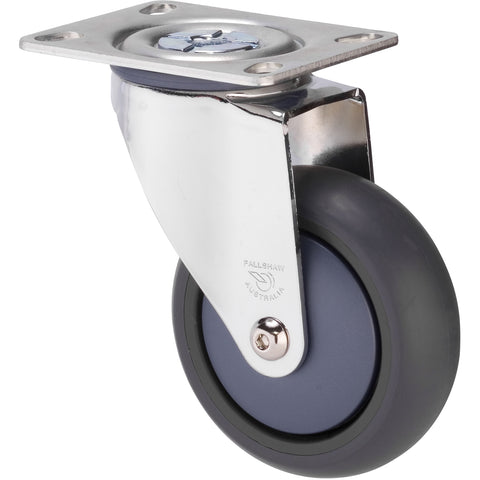 MJQ100GBN - MJQ100G/MCPBN <span>85 Kg Chrome Plated Swivel Plate 100mm Grey TPE w/ Bluestone Colourway</span>