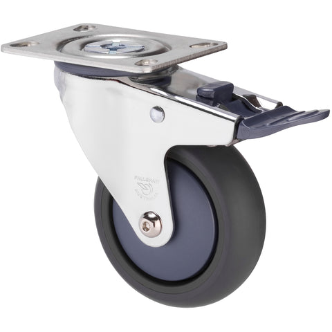 MJQ100GBN - MJQ100G/MCPTBBN <span>85 Kg Chrome Plated Swivel Plate Total Brake 100mm Grey TPE w/ Bluestone Colourway</span>