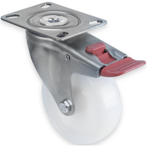 MNN100W/MZPTB <span>150 Kg Swivel Plate Total Brake 100mm White Nylon</span>