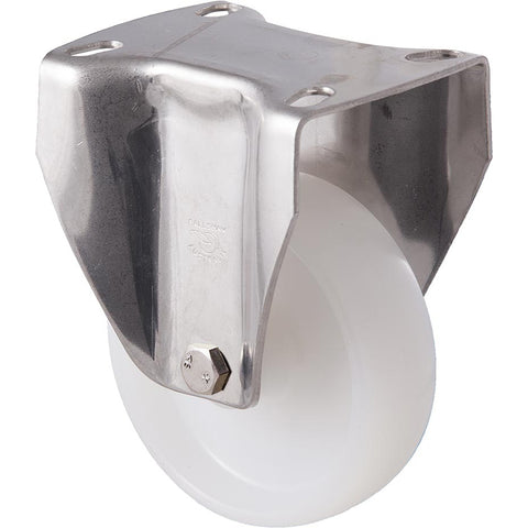 MNN100WS/MSF <span>150 Kg Stainless Steel Fixed Plate 100mm White Nylon</span>