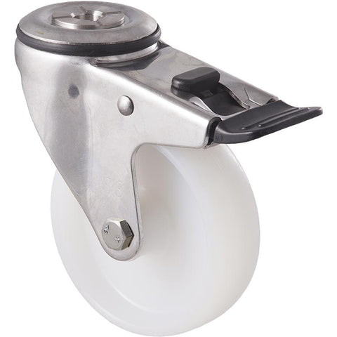 MNN100WS/MSHTB <span>150 Kg Stainless Steel Bolt-Hole Total Brake 100mm White Nylon</span>