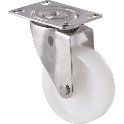 MNN100WS/MSP <span>150 Kg Stainless Steel Swivel Plate 100mm White Nylon</span>