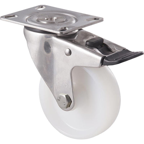 MNN100WS/MSPTB <span>150 Kg Stainless Steel Swivel Plate Total Brake 100mm White Nylon</span>