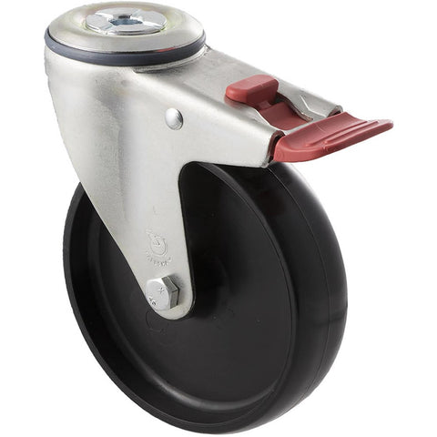 MNN125/MZHTB <span>150 Kg Bolt-Hole Total Brake 125mm Black Nylon</span>