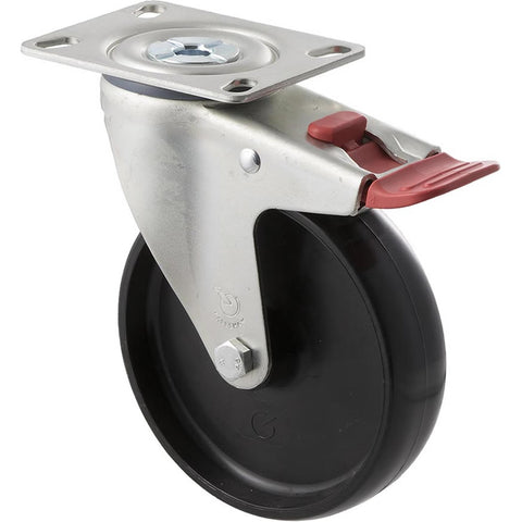MNN125/MZPTB <span>150 Kg Swivel Plate Total Brake 125mm Black Nylon</span>