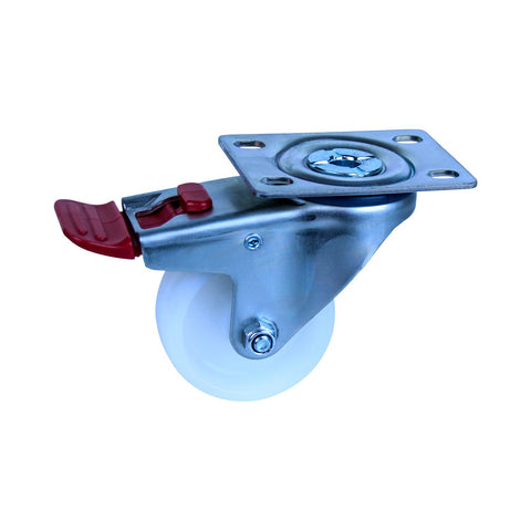 MNN75W/MZPNTB 150 Kg Zinc Castor <SPAN>Swivel Total Brake White Nylon 75mm x 32mm</span>