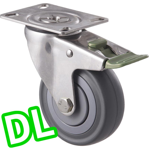 MSA100G/MSPDL <span>140 Kg Stainless Steel Swivel Plate <strong>Direction Lock Only</strong> 100mm Grey Rubber</span>