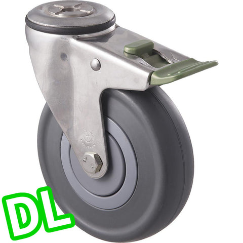 MSC125G/MSHDL <span>150 Kg Stainless Steel Bolt-Hole <strong>Direction Lock Only</strong> 125mm Grey Rubber</span>