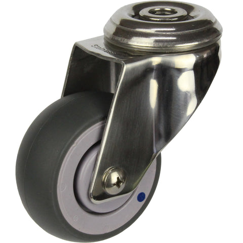 MSSGRQ75BH <span>80 Kg Bolt-Hole Grey Rubber 75mm Stainless Steel TPE</span>