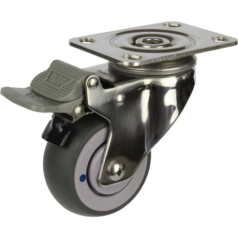MSSGRQ75STB <span>80 Kg Swivel Plate Total Brake Grey Rubber 75mm Stainless Steel TPE</span>