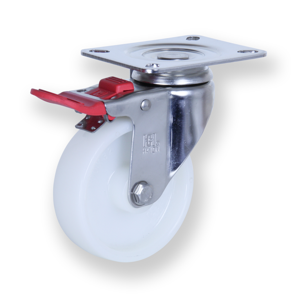 MSST10032-NNI 140kg Stainless Steel Castor <span>Swivel Total Brake White Nylon 100mm x 32mm</span>