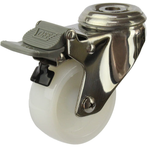 MSSWNA75BHTB <span>80 Kg Bolt-Hole Total Brake 75mm Stainless Steel White Nylon</span>